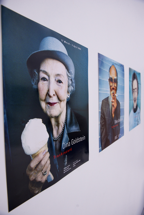 TRACKRECORD Exhibition 2004 poster collection By photographer Dina Goldstein. Trackrecord portraits of regulars at Hastings Racetrack, Vancouver, B.C.