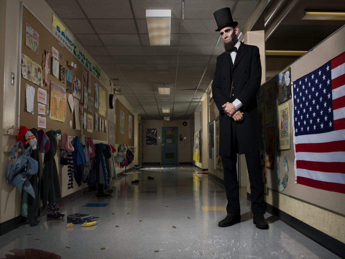 photographic tableau and social commentary includes American Presidents in order to examine American modern society.