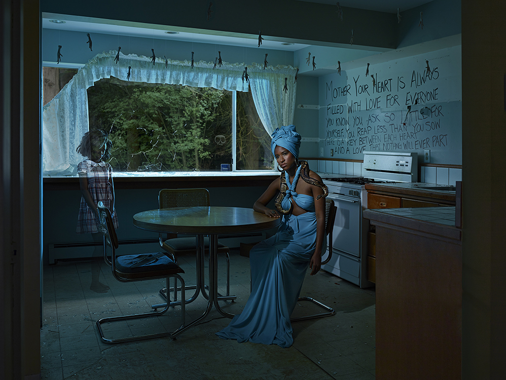 Voodoo Queen photograph from Gods Of Suburbia series by Artist Dina Goldstein
