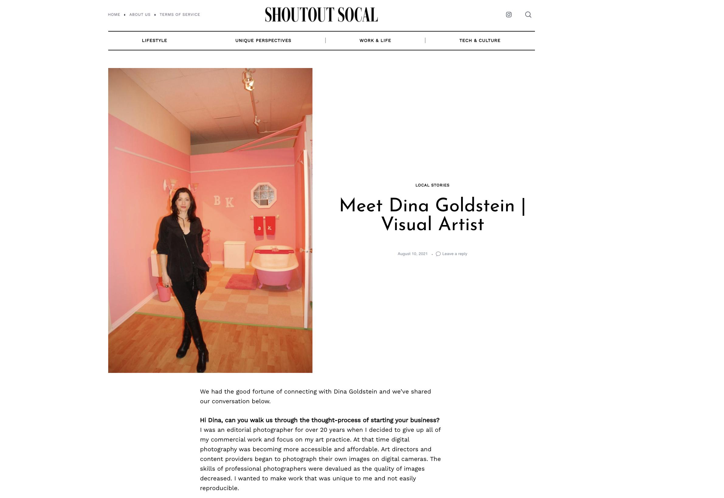 visual artist Dina Goldstein interview Shoutout Socal